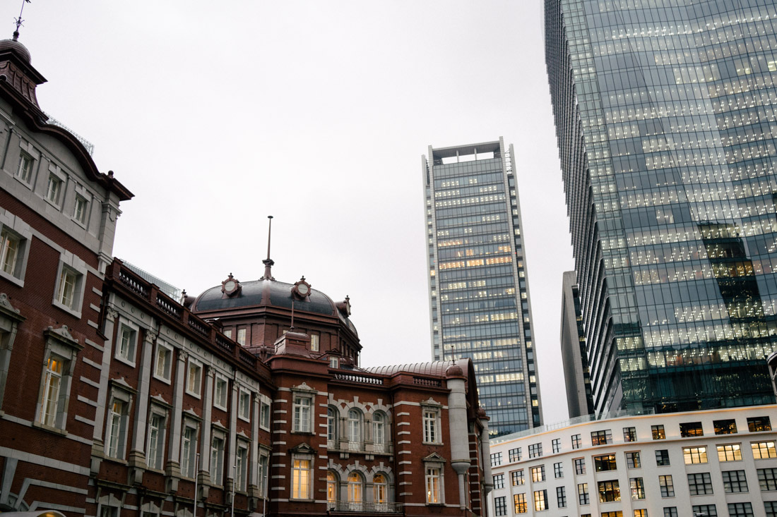 Tokyo station on the left contrasting with the huge modern skyscrapers.