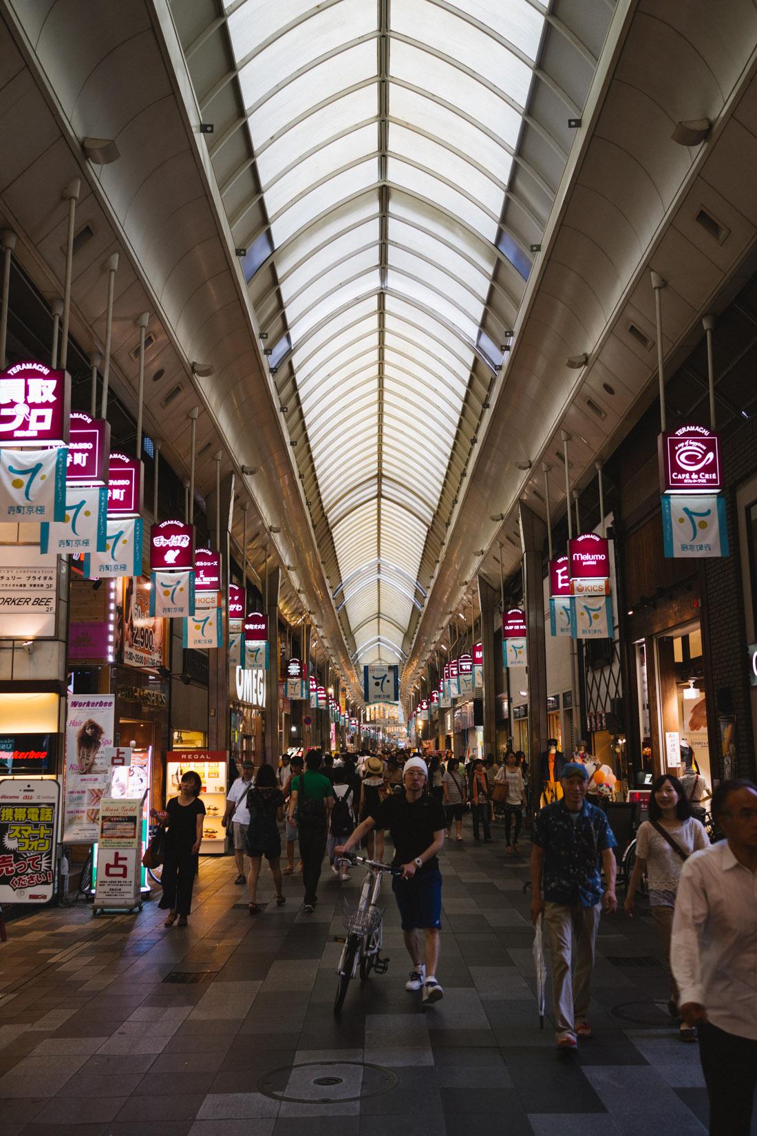 Kyoto's covered market and shops area.