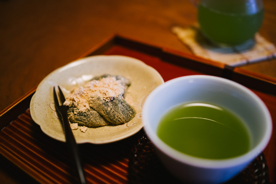 Dango and hot green tea as a welcome gift.