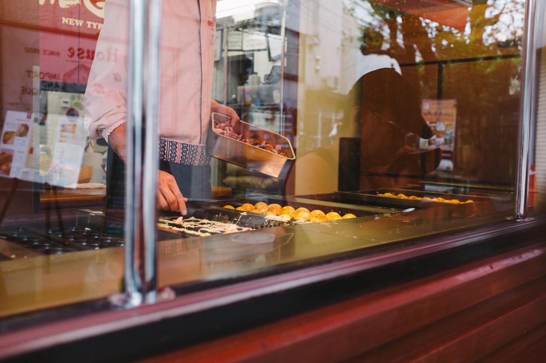 Making of the takoyaki. Major skills required!