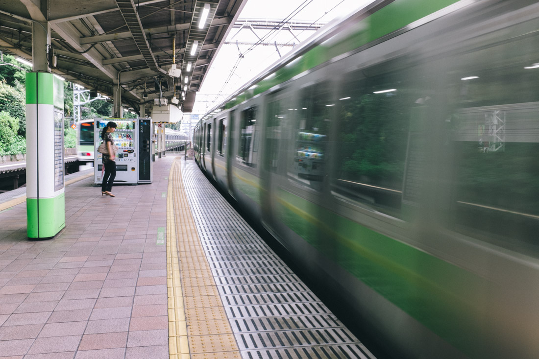 Waiting for the Yamanote line train to take us to Ueno.