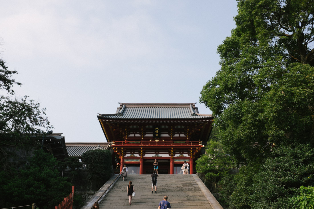 Tsurugaoka Hachimangu on top of a hill.