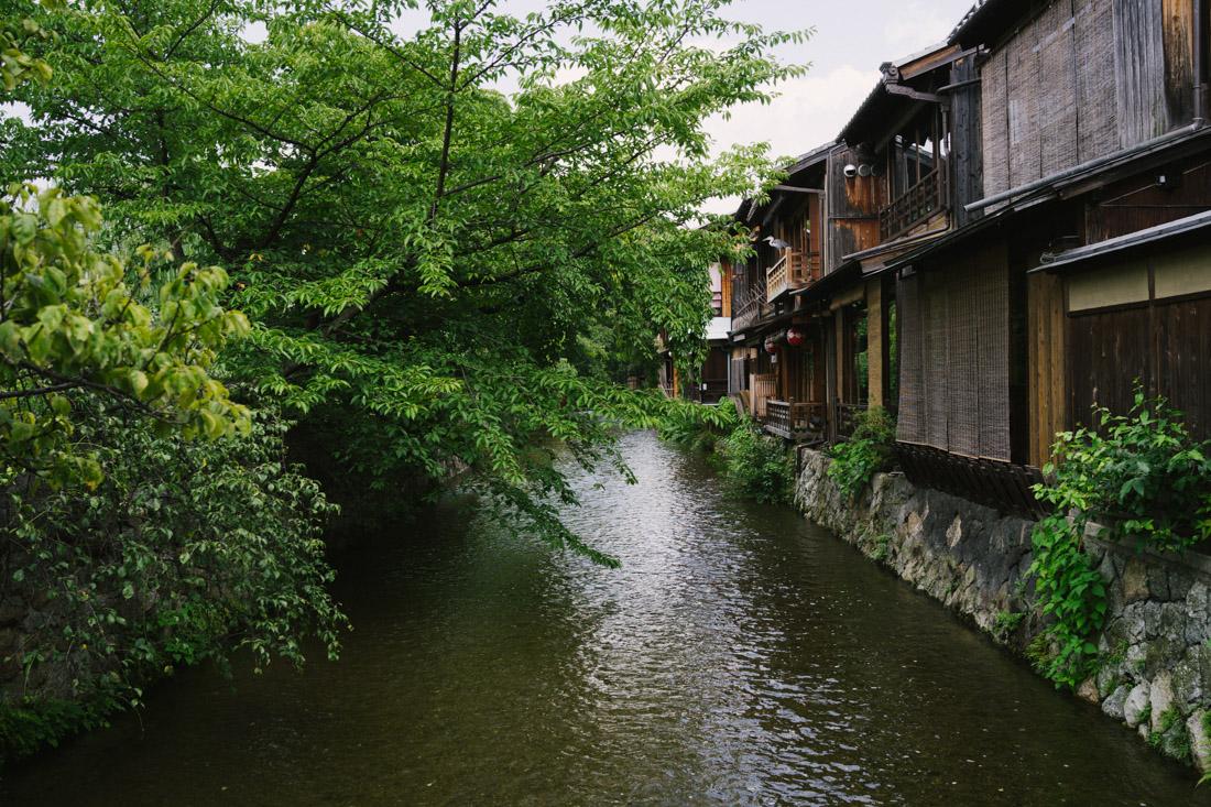 Shirakawa stream as seen from the bridge leading to Shiraume.